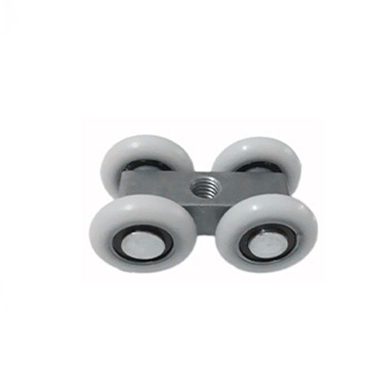 2pcs aluminum pulley bathroom glass moving door Sliding Door 4 Wheels roller mute pulley shower room accessories