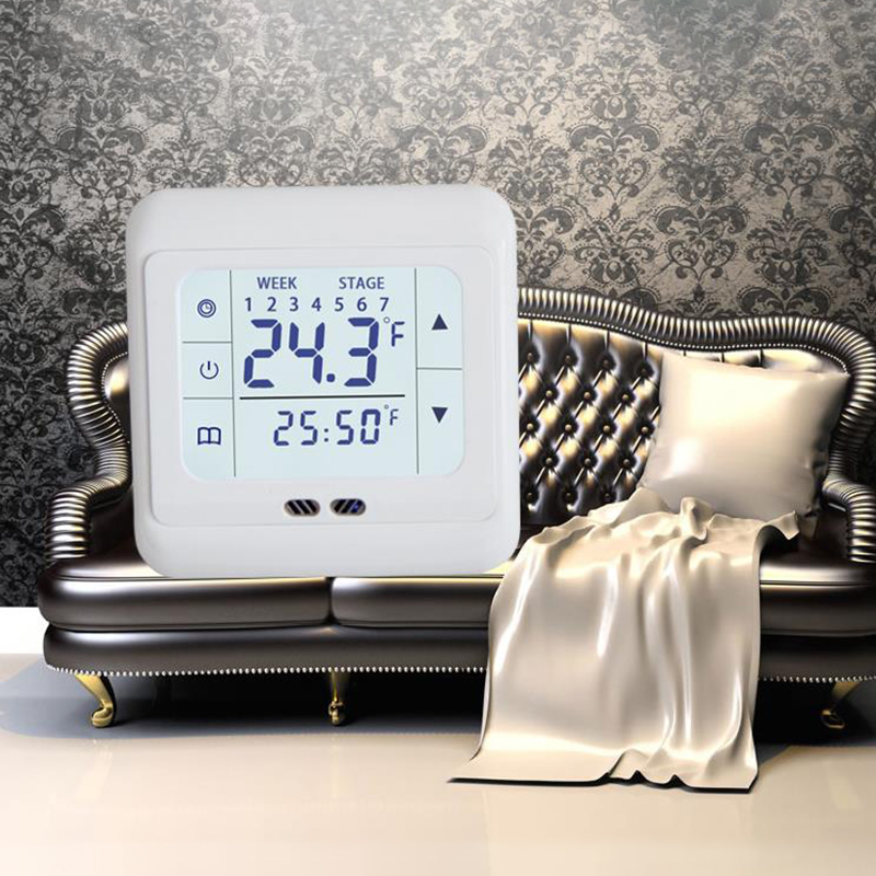 220V AC Durable Digital Floor Thermostat Touch Screen Indoor Floor Heating Room Thermostat With 2pcs Screws 86*86*37mm