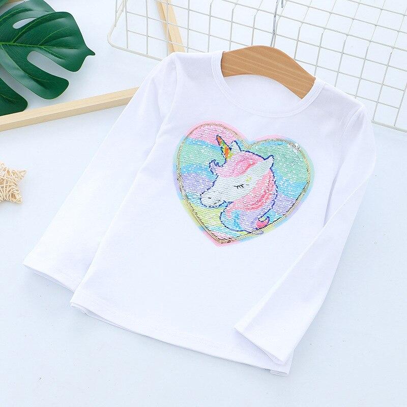 Футболка с длинными рукавами для девочек; рубашки для девочек с рисунком единорога; детский топ с блестками; модная одежда для девочек - Цвет: White