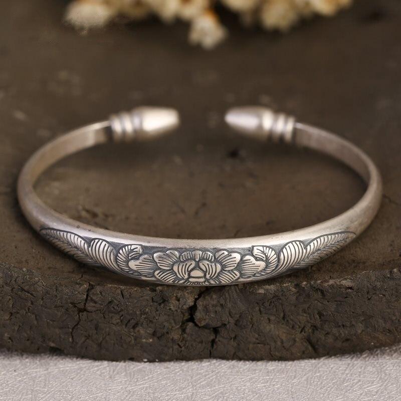 Thai argent 999 Bracelet Style Vintage pivoine motif en argent Sterling Antique Bracelet en argent pour les femmes anniversaire cadeau bijoux