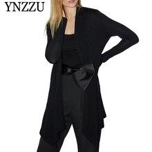 New arrival Black Women knitted Jacket Wrap-neck long-sleeved Asymmetry cardigan 2019 Fashion Slim Female Coat YNZZU YO925