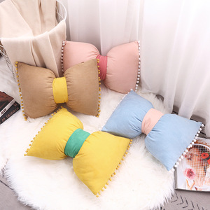 Solid Color Bow-knot Design Pillow Cover Lovely Princess Cushion Cover Northern Europe Cushion Cover Removable Decorative Pillow(China)
