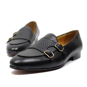 Image 4 - פליקס CHU סתיו Mens עור ופרס אדון מסיבת חתונה מזדמן להחליק על נעליים רשמיות שחור חום נזיר רצועת גברים שמלה נעליים