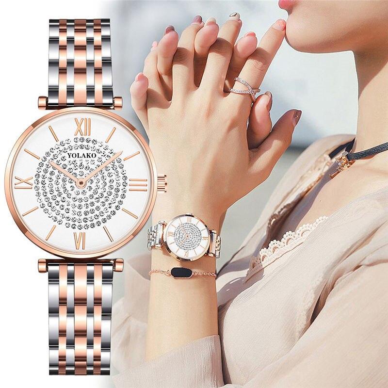 Luxury Fashion Women Watches Simple Wild Stainless Steel Rhinestone Ladies Watch Roman Numeral Quartz Wrist Watch