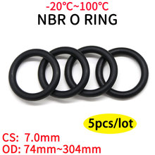 5pcs NBR O Ring Seal Gasket Thickness CS 7mm OD 74~304mm Nitrile Butadiene Rubber Spacer Oil Resistance Washer Round Shape Black