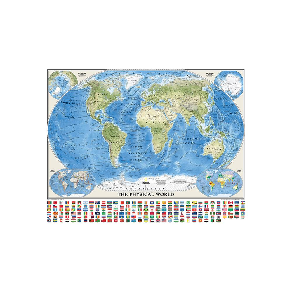 150x225cm The World Physical Map With World Tectonics And Climate Non-woven World Map With National Flags