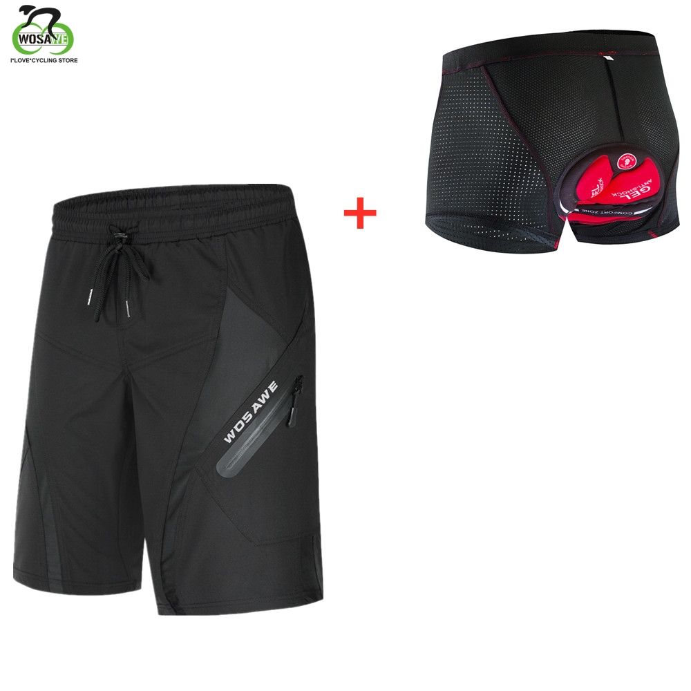 WOSAWE Men's Cycling Shorts With 5D Gel Pad Cycling Underwear Mountain Bike Downhill Shorts Loose Outdoor MTB Bicycle Shorts