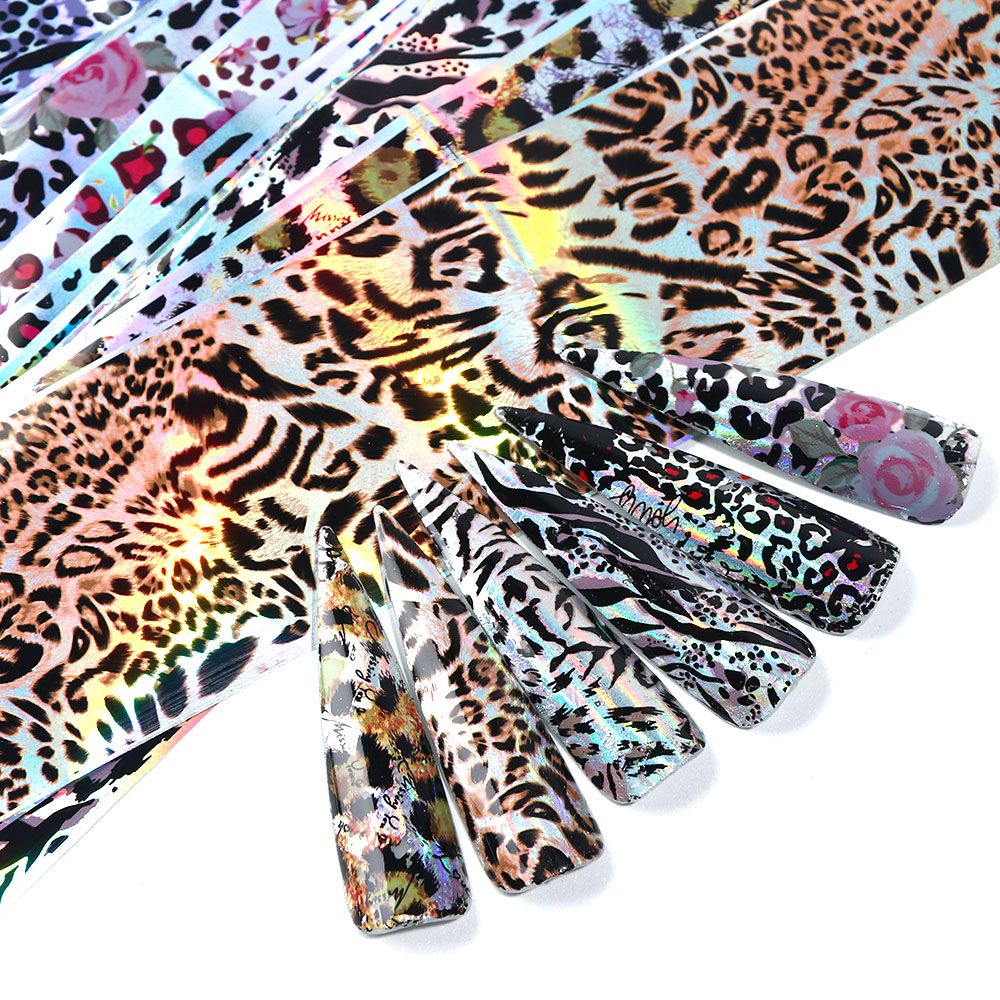Image 3 - 10pcs Leopard Print Nail Foil Stickers Nail Art Transfer Foils Set Holographic Design Adhesive Wraps Decoration Manicure TR2001-in Stickers & Decals from Beauty & Health
