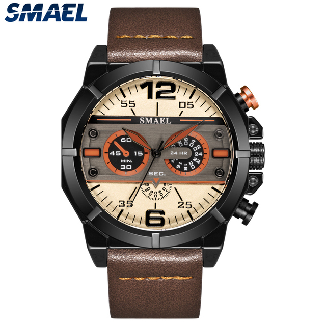 SMAEL Sport Watch Men Waterproof 2019 Top Brand Quartz Men Watch Leather Strap Brown Military Army Wristwatch Male Clock 9074