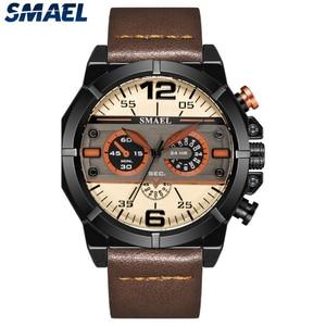 Image 1 - Smael Sport Horloge Mannen Waterdichte 2019 Top Merk Quartz Mannen Horloge Lederen Band Bruin Militaire Leger Polshorloge Mannelijke Klok 9074