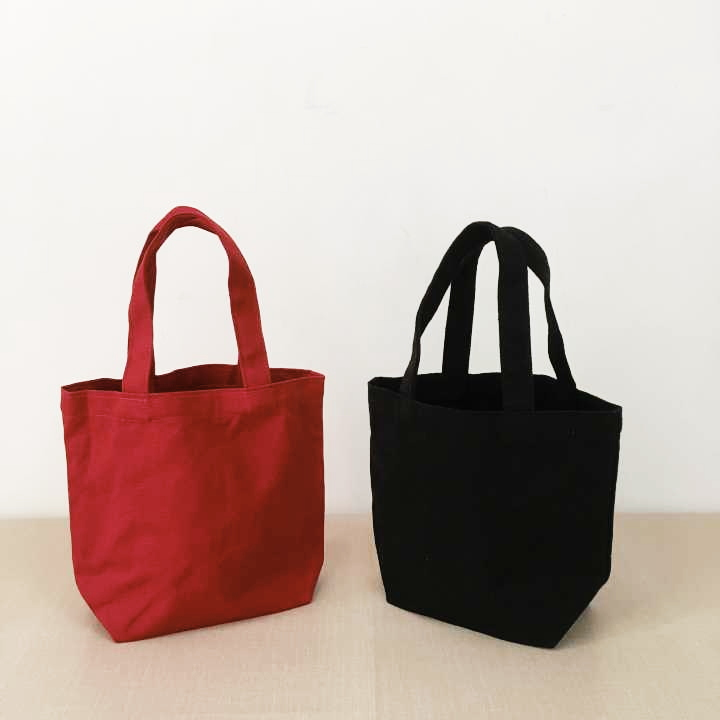 Red And Black Canvas Reusable Shopping Bags Women Tote Bag  Eco Grocery Bag Capacity Handbags