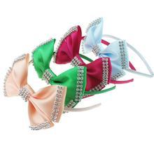 Атласные банты для девочек, повязка на голову, бантики с Горным хрусталём, детский праздничный наряд для сцены на день рождения, реквизит для фотосессии, повязка для волос