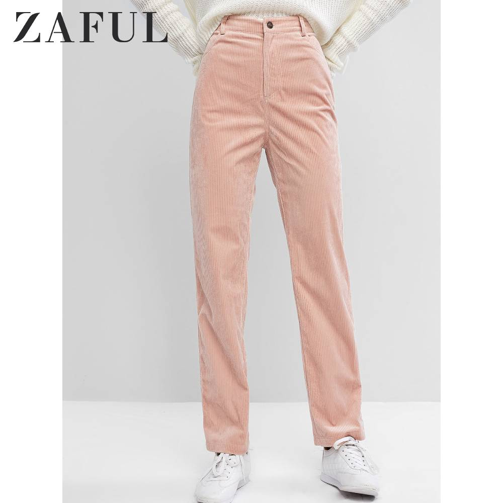 ZAFUL Corduroy High Rise Pants For Women Pocket Straight Flat Zipper Fly Solid Color Casual Pans Female