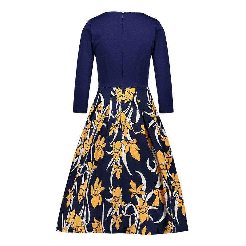 2019 женское весеннее платье с цветочным принтом, повседневное простое летнее длинное платье с 34 рукавами для женщин, модные свободные вечерние платья - 6