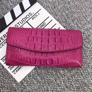 Image 2 - Authentic Alligator Leather Womens Large Card Purse Genuine Crocodile Skin Lady Long Organizer Trifold Wallet Female Clutch Bag