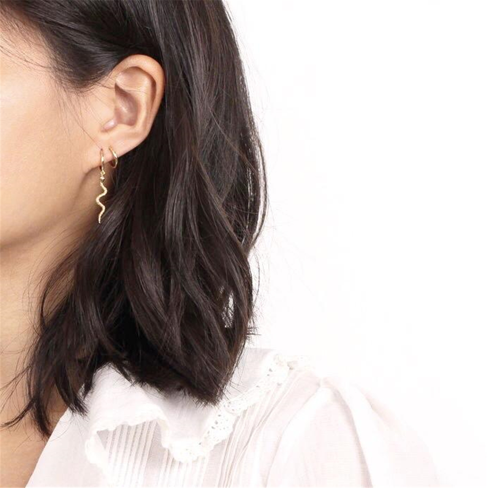 ANDYWEN 925 Sterling Silver Gold Long Snake Hoops Earrings High Quality Women Luxury Hoops Punk Rock Drop Earring Jewelry