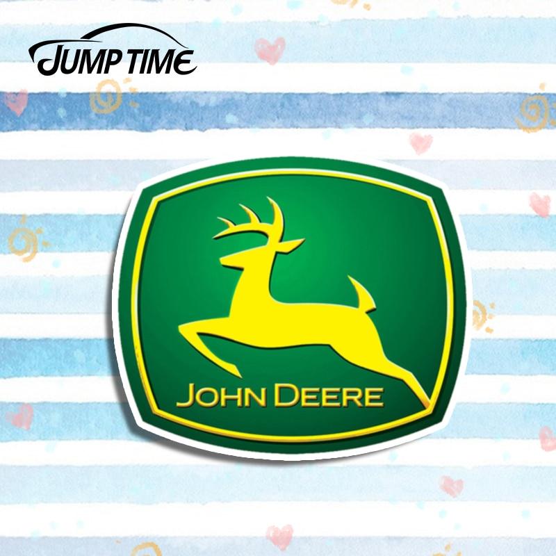 Jump Time 13cm X 11cm For John Deere Car Stickers Argent Auto Moto Voiture Tracteur Race Vinyl Decor For Window Bumper Trunk