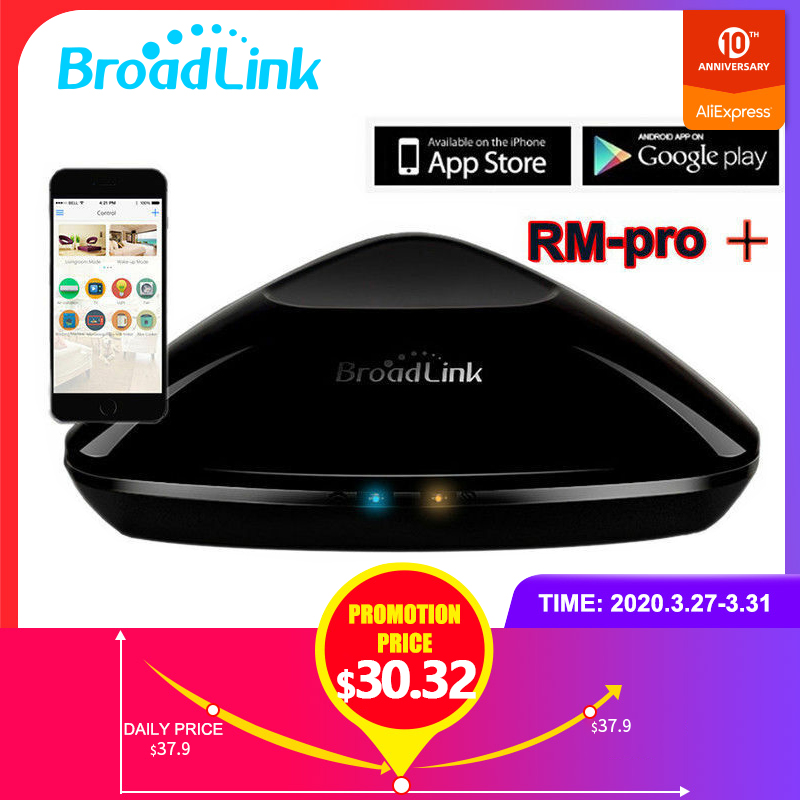 2020 Broadlink RM Pro+ Smart Wireless WiFi/IR/RF Remote Control Home Switch Automation Compatible for Alexa and Google Home