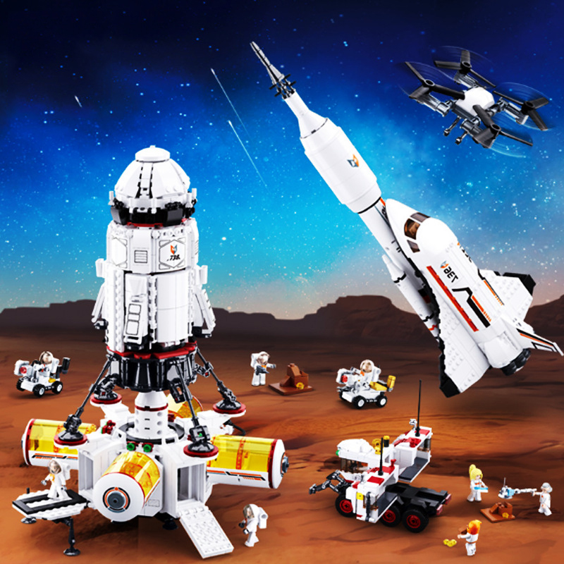 Children's Aerospace Series Building Blocks Toys Compatible With Legoinglys City Space Satellite Space Rocket DIY Figures Bricks