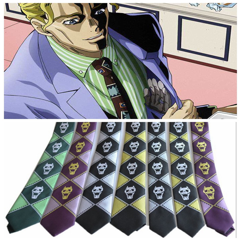 Japanese Anime JoJo's Bizarre Adventure Anime Style Tie A Variety Of Styles Skull Skull Pattern Cosplay Anime Accessories
