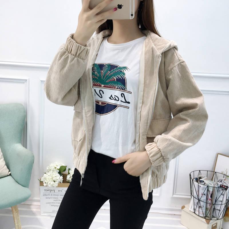 H1921adeac9cf41f4a1aa9857e9f25b5fn Jacket Chaqueta Coat  Clothes Streetwear New 2019 Women Jacket Long Sleeve Turn-down Collar Outerwear Brown Corduroy Coat Jacket