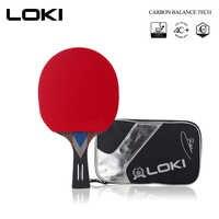 LOKI profesional raqueta de tenis de mesa de carbono hoja de goma con Ping-Pong bate avanzada Ping Pong raqueta para ataque rápido arco