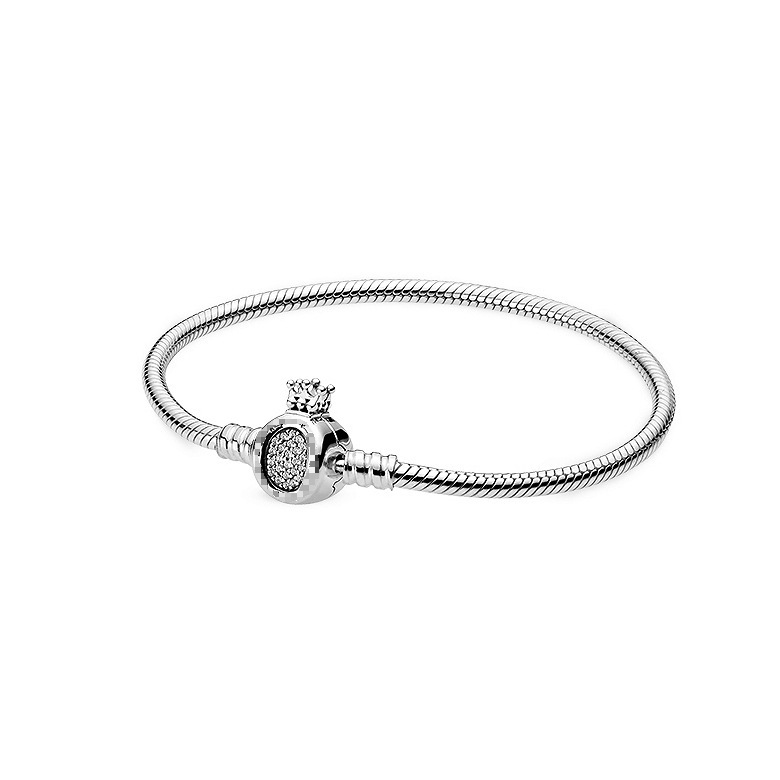 Fit Original <font><b>Pan</b></font> S925 <font><b>Sterling</b></font> <font><b>Silver</b></font> <font><b>Bracelet</b></font> Moments Crown Snake Chain <font><b>Bracelet</b></font> Women DIY Bead Charm Fashion Jewelry gift image