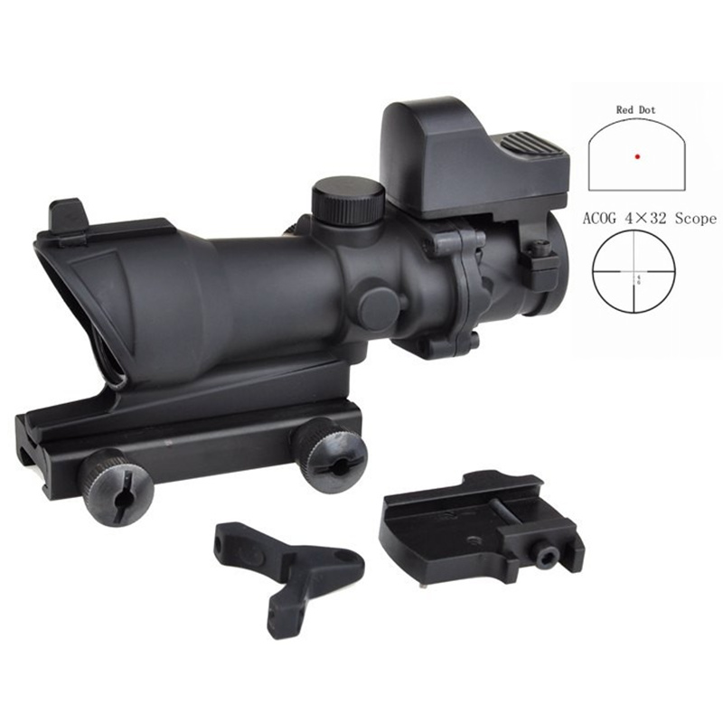 AIM Airsoft Hunting Scopes ACOG 4X32 Rifle Scope Air Gun Red Dot Sight Tactical Optic Sight Reddot Riflescope AO5317