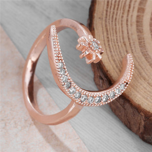 Fashion Ring Moon Star Open Finger Adjustable Rings Women Girls Rhinestone Crystal Bride Jewelry Ring Wedding Engagement Jewelry(China)