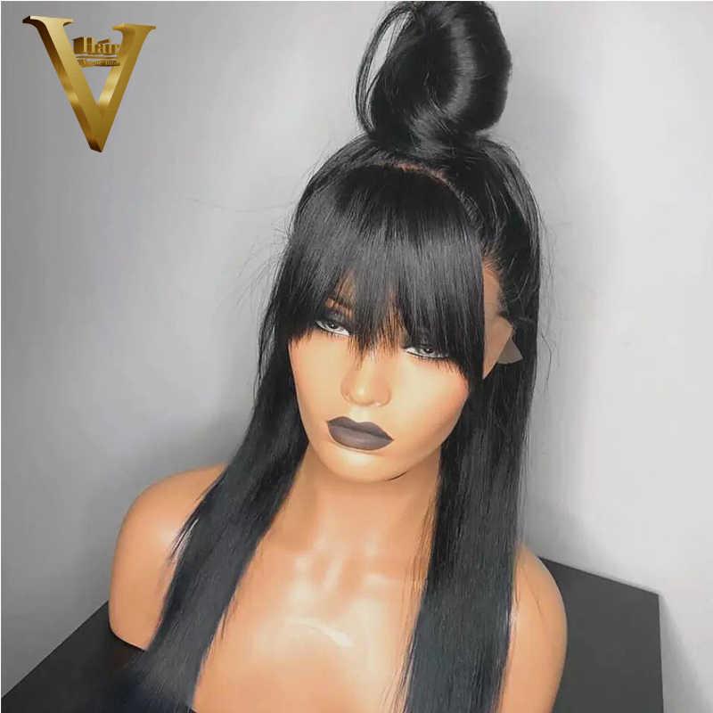 Wysoki kucyk 360 czołowa koronki peruka z grzywką 13x6 prosto koronki przodu włosów ludzkich peruk Pre oskubane z dzieckiem włosy remy ludzki włos peruki dla kobiety