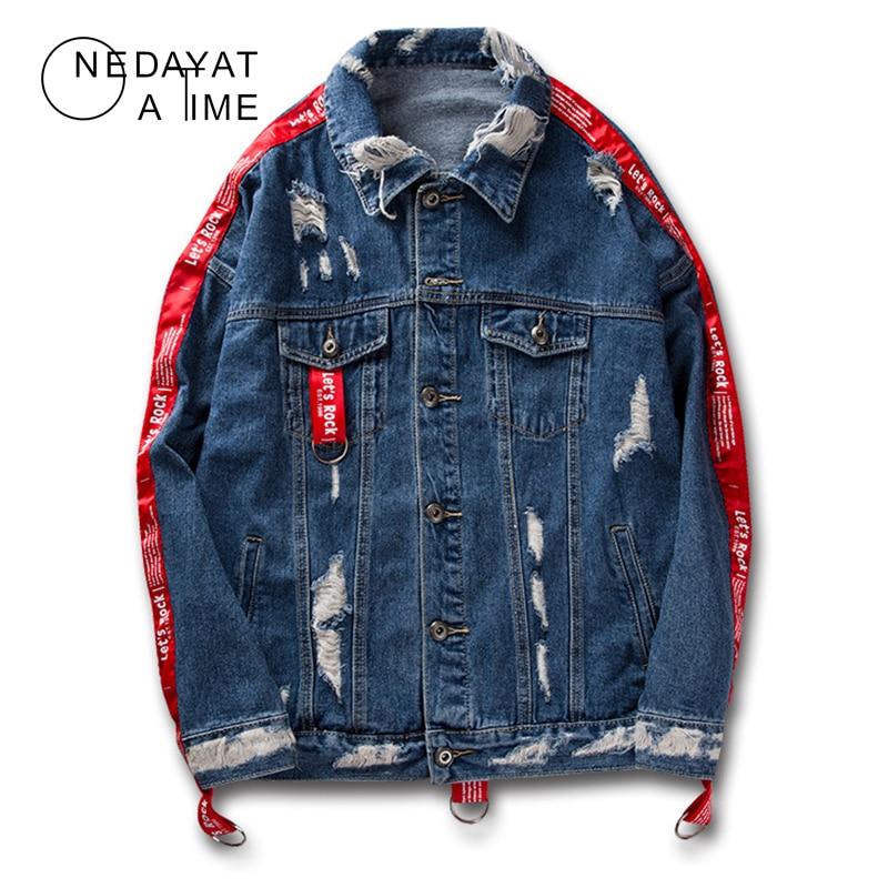 Harajuku Style hip-hop punk trou denim veste hommes rues Denim manteau mâle moto Jean manteau Streetwear mode Outwear manteaux