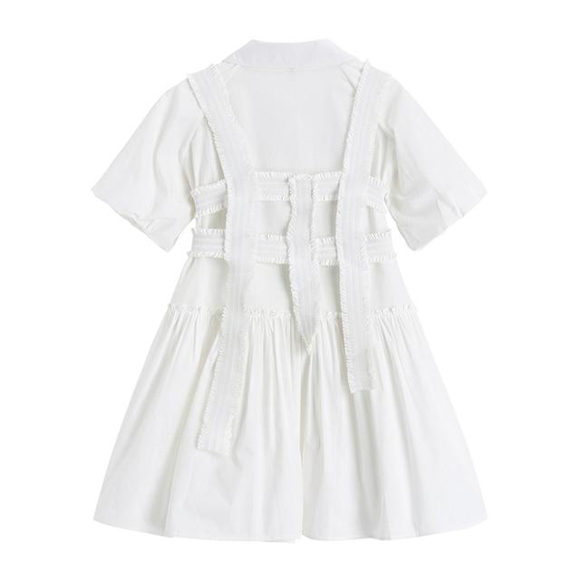 Fashion Elegan White Mini Dress Women Short Sleeve Summer Party Birthday Festival Sweet Cute Sexy French Romantic Vintage Dress 2