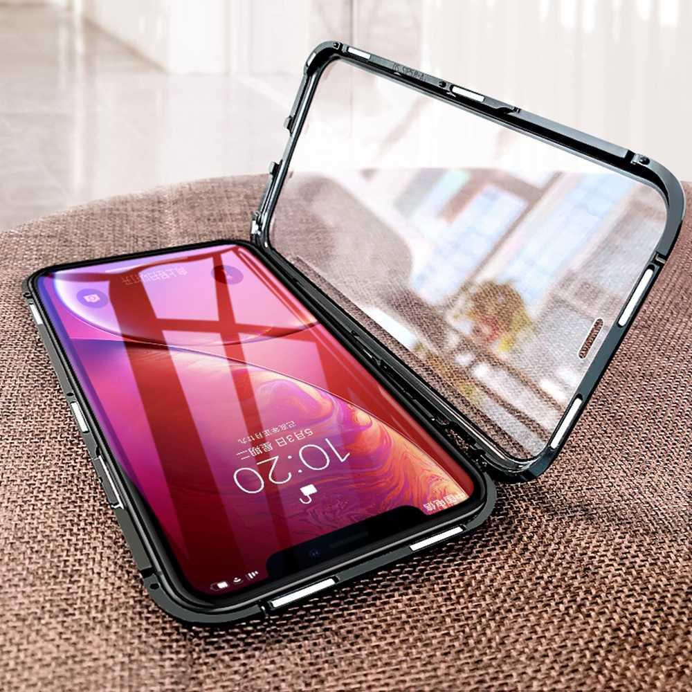 OTAO Metalen Magnetische Case Voor iPhone 8 7 6 6s Plus 9H Dubbelzijdig Gehard Glas Magneet Cover voor iPhone XS MAX XR X Gevallen Coque