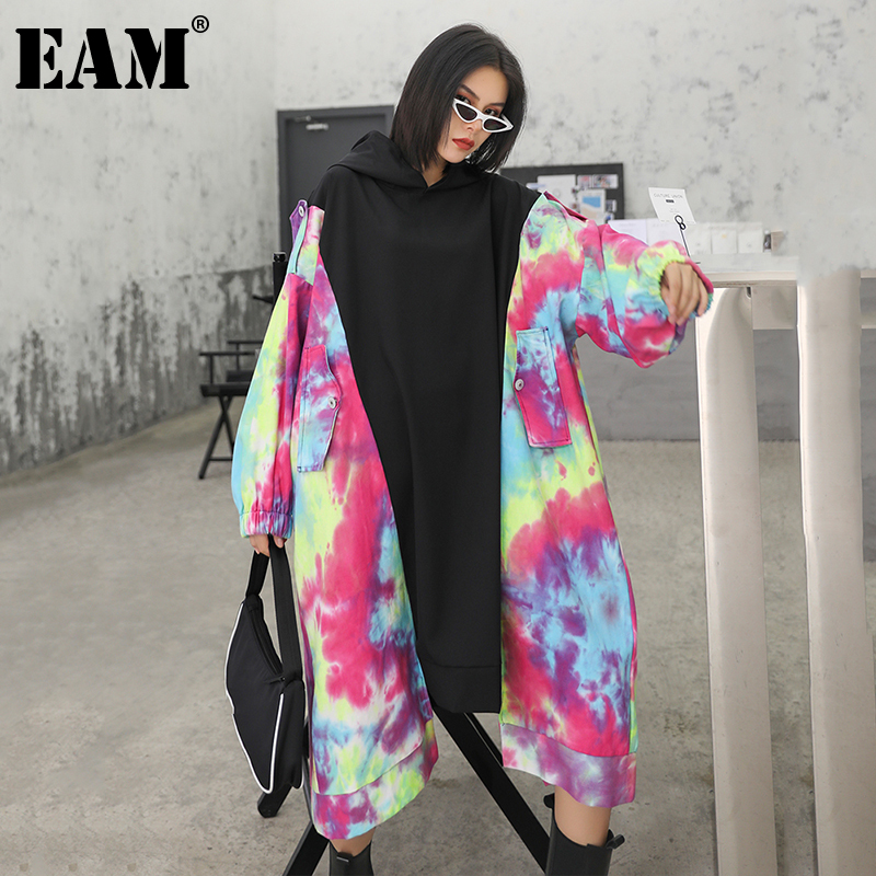 [EAM] Women Black Pattern Printed Big Size Dress New Round Neck Long Sleeve Loose Fit Fashion Tide Spring Autumn 2020 1Z636