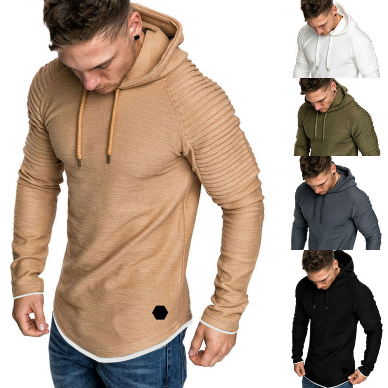 Hooded Sweatshirt Workout-Top Athletic Bodybuilding-Fitness Warm Mens Fashion Outwear title=