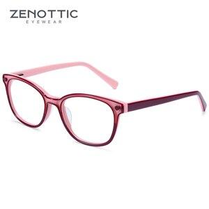 Image 4 - Zenottic Acetaat Kinderen Brilmonturen Meisjes Jongens Bijziendheid Optische Bril Anti Blue Ray Lens Bijziendheid Recept Brillen