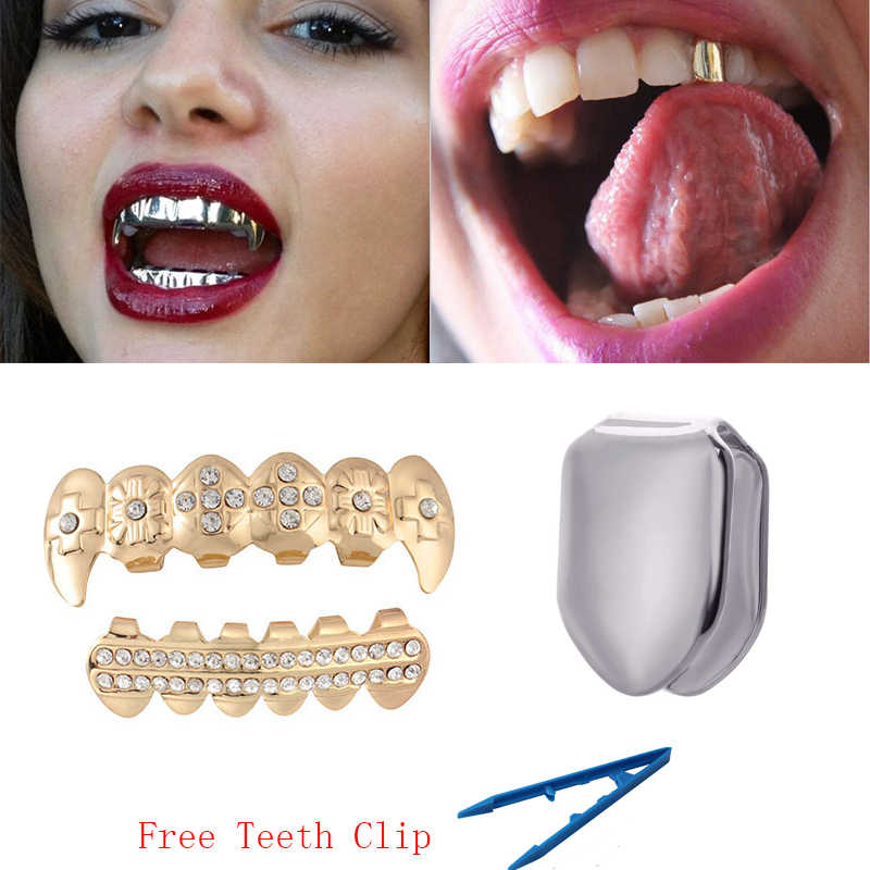 Punk Silver/ Gold Teeth Grillz Hiphop Grills Dental Mouth Fashion Teeth Caps Cosplay Party Rapper Grills Teeth Jewelry Gifts