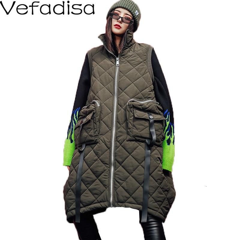 Vefadisa Winter Flocking Sleeveless Vest Woman 2019 Zippers  Pockets Vest Coat Loose Cotton padded Vest Black Brown QYF1262Vests