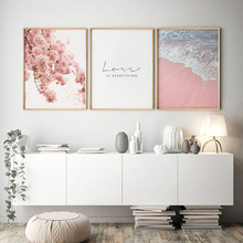 Scandinavian Style Canvas Painting Pink Flower Sea Beach Posters Wall Art Print Picture Living Room Nordic Decoration Home Decor scandinavian pink swan sea canvas poster abstract wall art print motivation painting nordic decoration picture living room decor