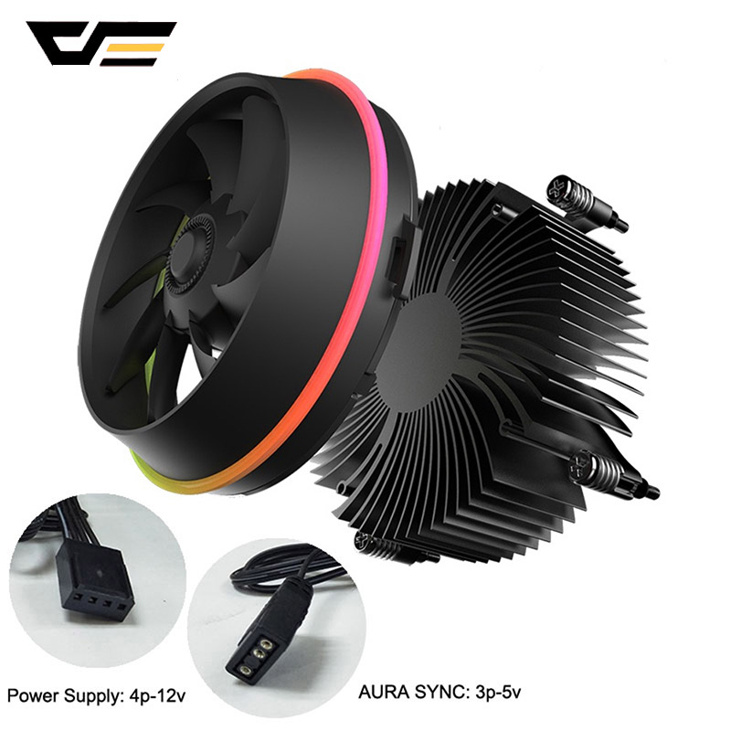 darkFlash CPU Cooler AURA SYNC TDP 280W Double Ring LED Fan 4pin PWM Radiator CPU Cooling Cooler for Intel Core i7/i5/i3 Shadow