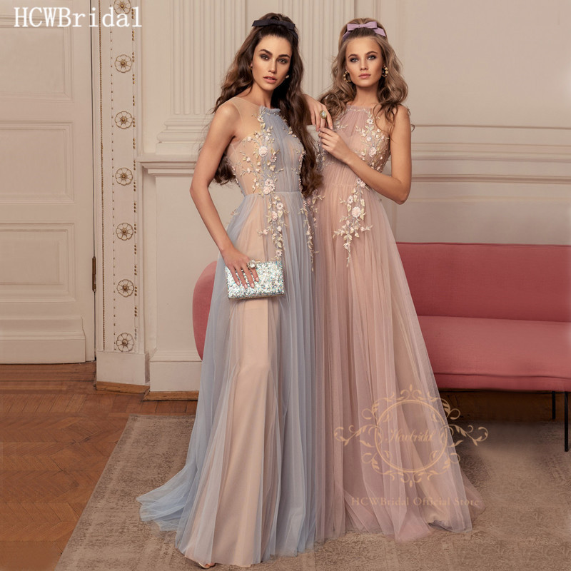 Dusty Pink Long Formal Evening Dress 2020 Graceful Flowers Appliques A Line Tulle Prom Gown Customize Robe De Soiree