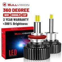 Led 360 H7 H4 H11 헤드 라이트 20000LM 12V 9005 9006 HB3 HB4 아이스 전구 Hir2 9012 H8 H9 CSP 다이오드 램프 6000K 안개 조명