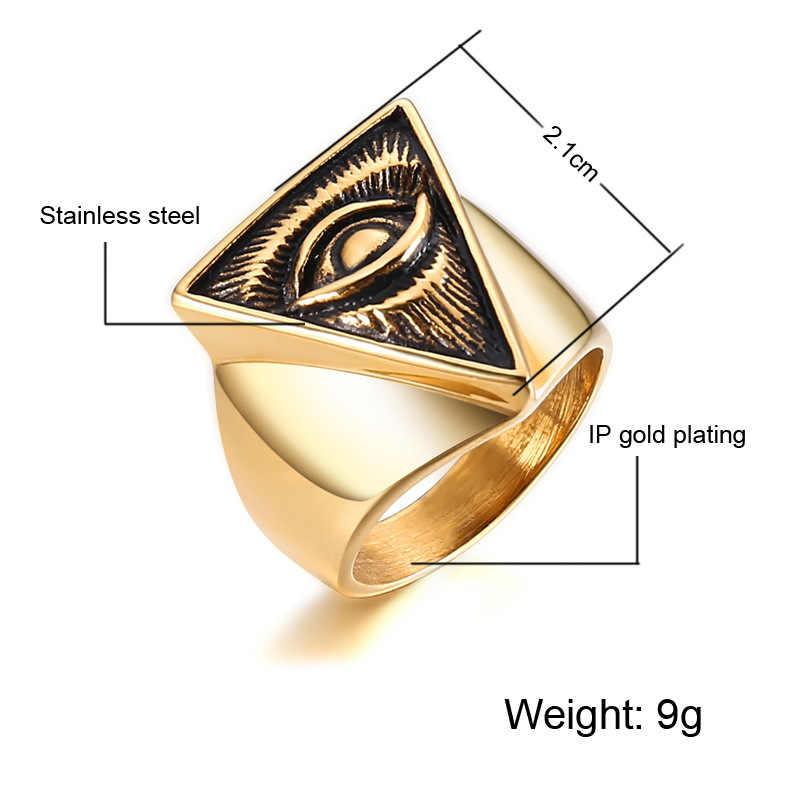 Qmhje Allah Mata Pria Stainless Steel Signet Rings Seal Hip Hop Cincin Segitiga Pria Perhiasan Perak Warna Emas Klasik Gothic DCR007