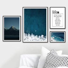 Landscape Sea Beach Mountain Life Quotes Wall Art Canvas Painting Nordic Posters And Prints Pictures For Living Room Decor
