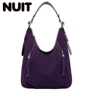 Image 1 - New Buckskin Suede Crossbody Bags For Women 2020 Luxury Handbags Women Bags Designer Vintage High Quality Shoulder Bag For Lady