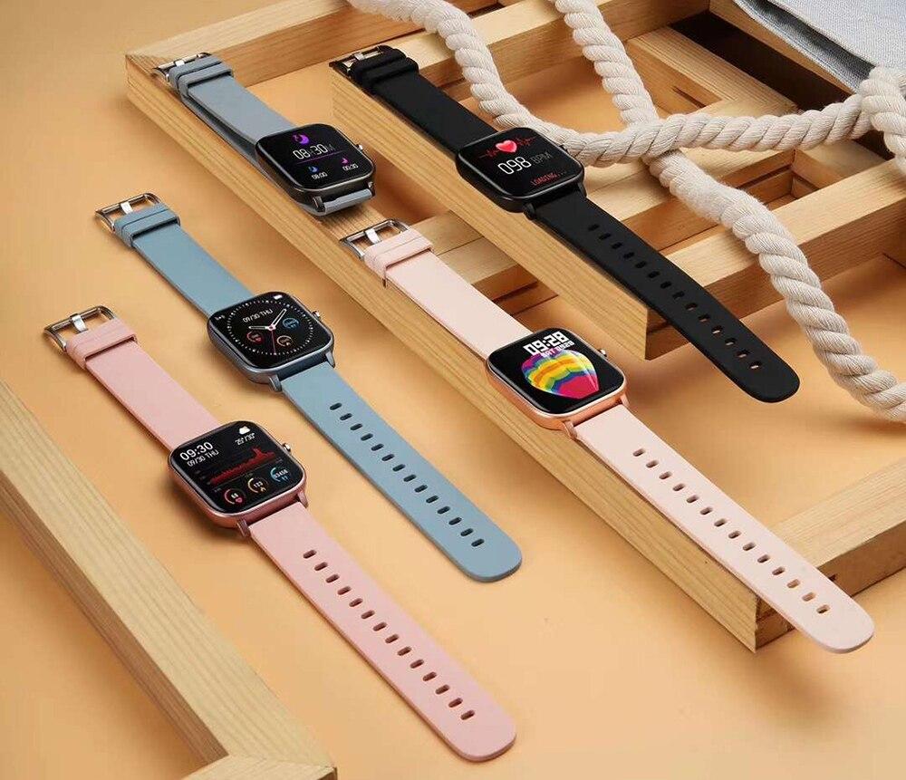 H1922ed7be28a404fb20e3c3d4eec1e9bc 2021 New P8 Color Screen Smart Watch Women men Full Touch Fitness Tracker Blood Pressure Smart Clock Women Smartwatch for Xiaomi