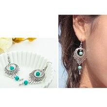 Vintage Boho étnico cuelga los pendientes redondos de la gota para las mujeres joyería de moda femenina que cuelga los pendientes de la boda para el regalo de las novias
