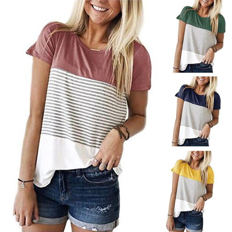 Mulheres listras topos senhora moda três cores costura manga curta roupas verão o-pescoço camiseta