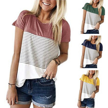 Women Stripe Tops Lady Fashion Three-color Stitching Short Sleeve Clothes Summer O-Neck T-Shirt