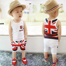 New Summer TOPS Children Boys Girls Baby Fashion Infant Clothing Set Kids Cotton Cartoon Vest Shorts 2PCS/Sets Suit Twinset free shipping 2017 summer female baby girls shorts sets infant fly sleeve vest 2pcs suit lollipop
